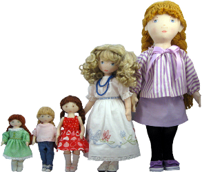 Group of five dolls.