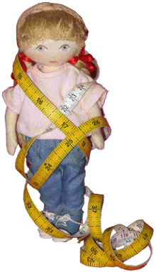 Florabunda doll tangled in a measuring tape